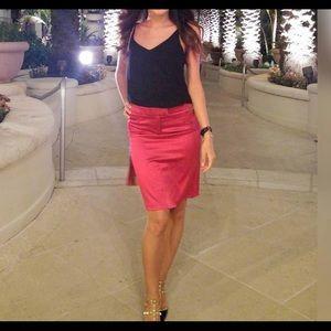 Galliano Red Midi Pencil Skirt Stretchy Satin XS